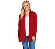 Susan Graver Premier Knit Open Front Cardigan with Button Detail - A270059