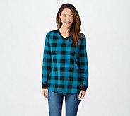 Denim & Co. Buffalo Plaid Jersey V-Neck Long Sleeve w/ Rib Trim Tunic - A298059
