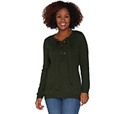 Attitudes by Renee Pullover Lace-Up Sweater - A298659