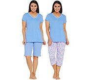 Carole Hochman Floral Blossoms Cotton Jersey 3-Piece Pajama Set - A302159
