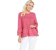 LOGO by Lori Goldstein Eyelet Button Front Cardigan - A305459