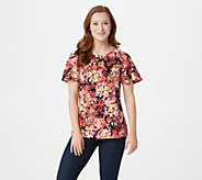 Denim & Co. Floral Print Round-Neck Flutter Sleeve Top - A307659