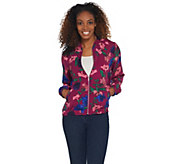 Susan Graver Printed Peachskin Zip-Front Bomber Jacket - A308259