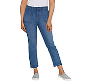 LOGO by Lori Goldstein Crosshatch Straight Ankle Jeans w/Pockets - A309159