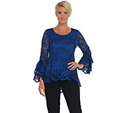 Isaac Mizrahi Live! Bi-Color Lace Knit Top with Tiered Bell Sleeves - A343259