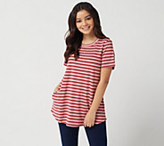 LOGO by Lori Goldstein Metallic Stripe Knit Top with Short Sleeves - A347459