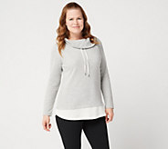 Denim & Co. Active Petite Waffle Knit Color-Blocked Tunic - A350059