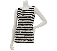 Susan Graver Knit Striped Ruffle Tank Top - A231960