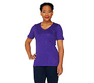Quacker Factory Short Sleeve V-neck Mini Sequin Rib T-shirt - A253760