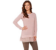 LOGO by Lori Goldstein Cotton Cashmere Waffle Sweater with Tulle Hem - A269660