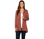 LOGO Layers by Lori Goldstein Long Sleeve Open Front Knit Cardigan - A272860