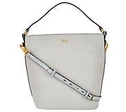 H by Halston Pebble Leather Crossbody Bucket Handbag - A274060