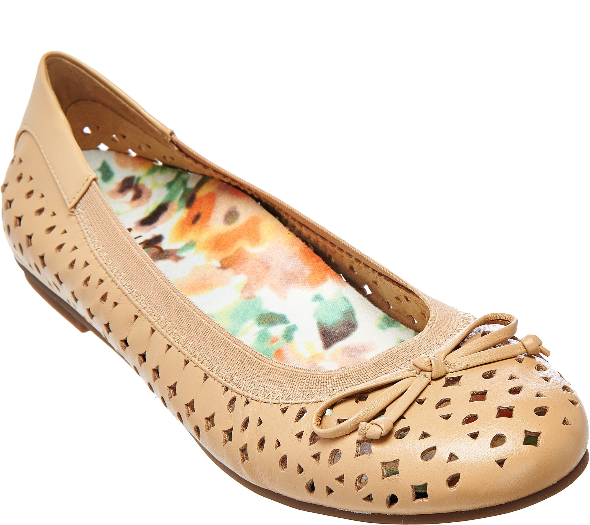 afdbdd117971 Vionic Orthotic Leather Perforated Flats - Surin - Page 1 — QVC.com