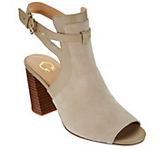 C. Wonder Suede Peep Toe Booties w/ Buckle Detail - Gemma - A275660