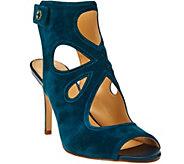 C. Wonder Suede Peep Toe Booties w/ Cutout Design - Phoebe - A275760