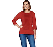 Denim & Co. 3/4 Sleeve Round Neck Lace Panel Top - A280660