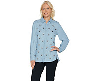 C. Wonder Embellished Button Front Carrie Blouse - A283060