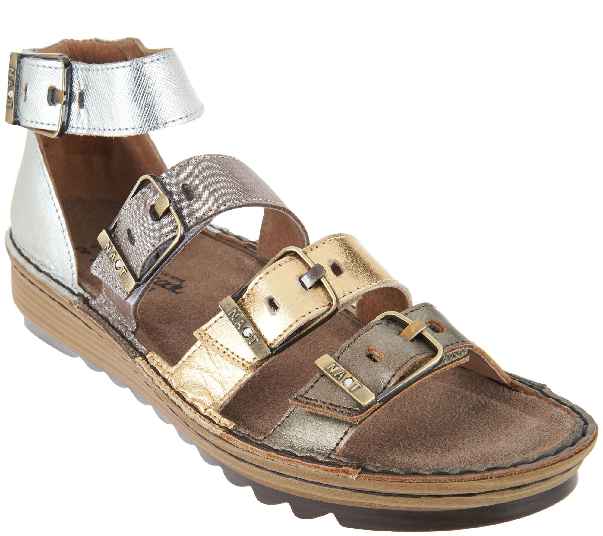 a6a0741746bd Naot Leather Sandals with Buckle Details - Begonia - Page 1 — QVC.com