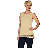 Joan Rivers Jersey Knit Tank with Shimmering Crochet Hem - A299360
