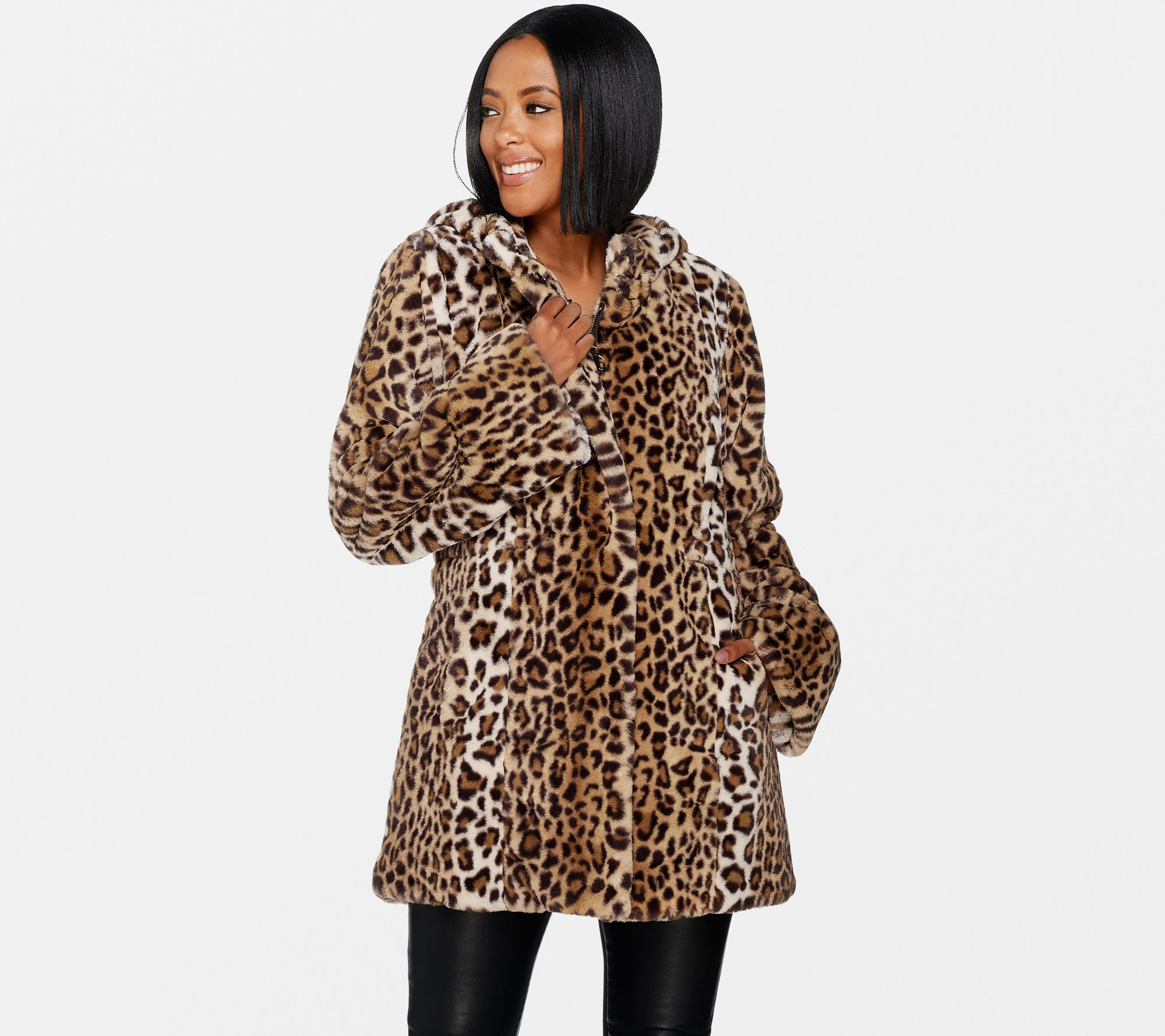15e6b0c356fc Dennis Basso Zip Front Faux Fur Coat with Hood and Waist Detail ...