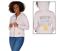 Peace Love World French Terry Zip Front Hoodie - A301560