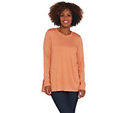LOGO by Lori Goldstein Cotton Modal Top with Back Embroidery - A307260