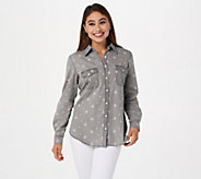 Denim & Co. Chambray Star Print Button Front Long- Sleeve Shirt - A307960