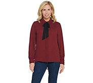 Dennis Basso Woven Tie-Neck Button-Front Blouse with Ruched Cuff - A344760