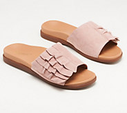 Vionic Suede Ruffle Slide Sandals - Roni - A349760