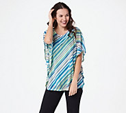 Susan Graver Striped Sweater Knit Scarf Top Knit Tank Set - A350160