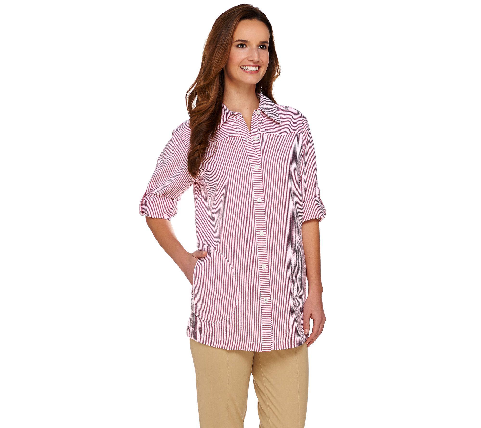 cae71665 Joan Rivers Seersucker Boyfriend Shirt w/ Long Sleeves - Page 1 — QVC.com
