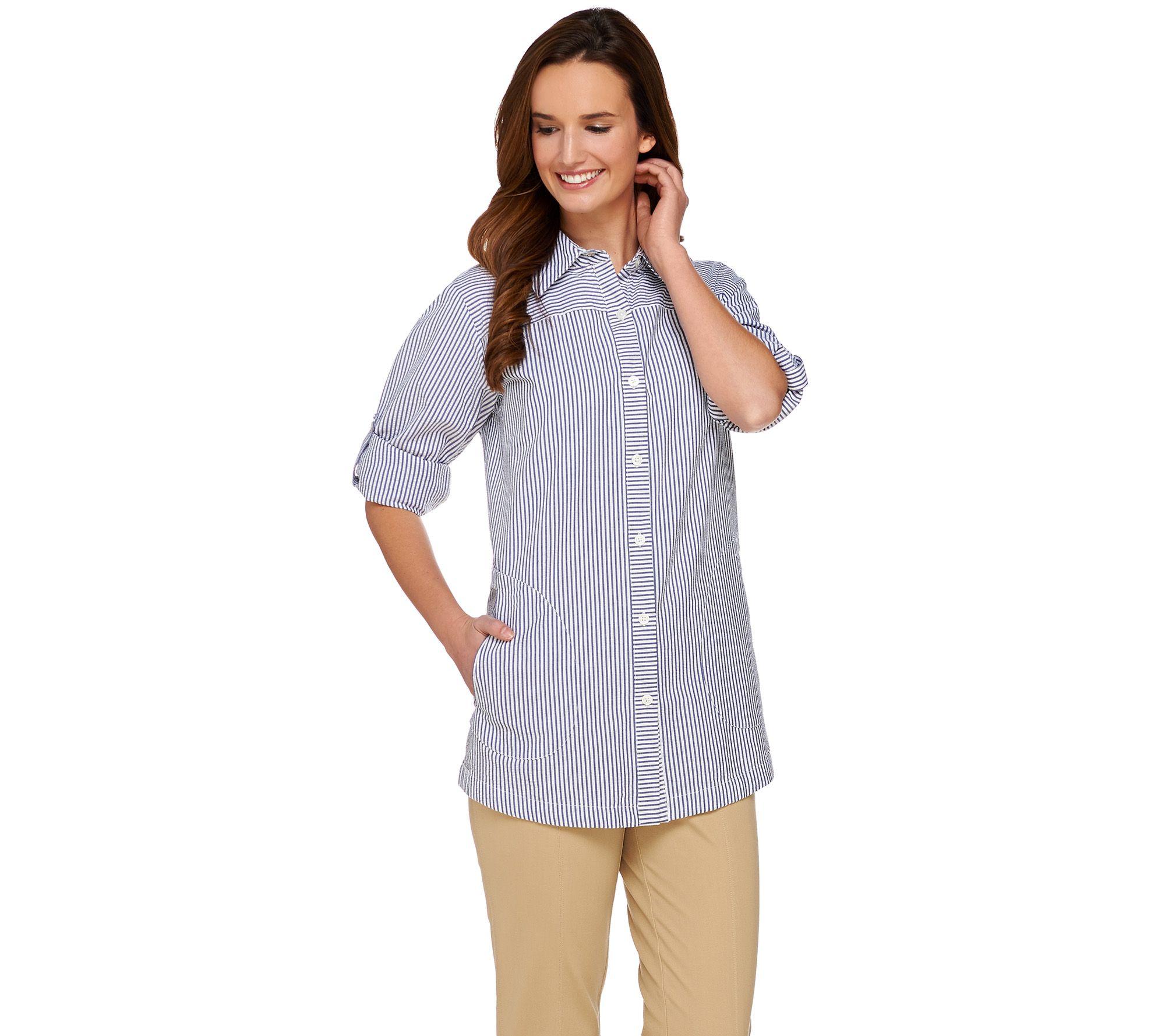 Joan Rivers Seersucker Boyfriend Shirt w/ Long Sleeves - Page 1 ...