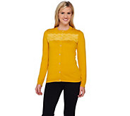 Liz Claiborne New York Cardigan with Lace Detail and Shell Buttons - A269261