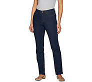 Denim & Co. How Slimming Petite Denim Straight Leg Jeans - A272961