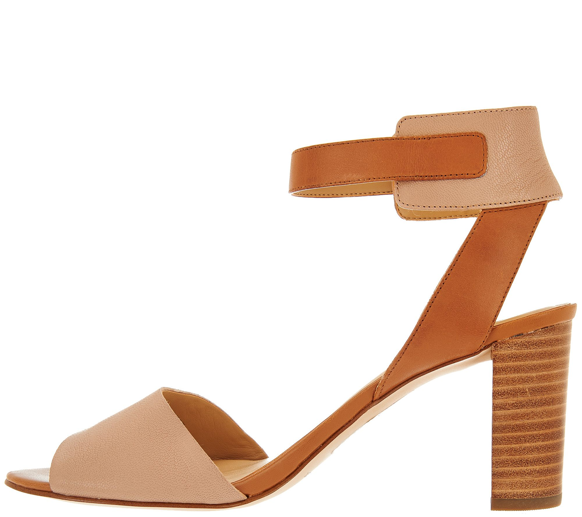 1296f972f9e Marc Fisher Leather Ankle Strap Block Heel Sandals - Genette - Page 1 —  QVC.com