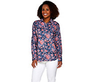 Isaac Mizrahi Live! TRUE DENIM Floral Printed Shirt - A274761