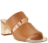 Isaac Mizrahi Live! Leather Double Strap Slide Sandals w/ Block Heel - A277661