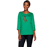 As Is Quacker Factory Sparkle & Shine Holiday Motifs 3/4 Sleeve T-Shirt - A278061