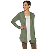LOGO by Lori Goldstein Sweater Cardigan with Flounce at Hem - A290261