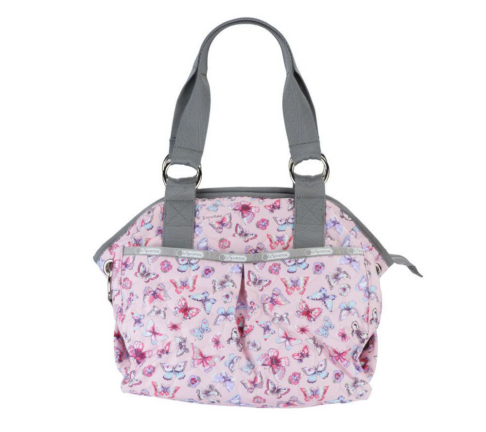 As Is Lesportsac Printed Nylon Embroidered Satchel Qvc