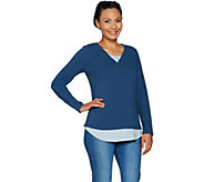 Isaac Mizrahi Live! TRUE DENIM Long Sleeve V-neck Layered Top - A296761