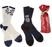 Catawba Set of 2 Merino Wool Blend Holiday Socks with Gift Bag - A300461