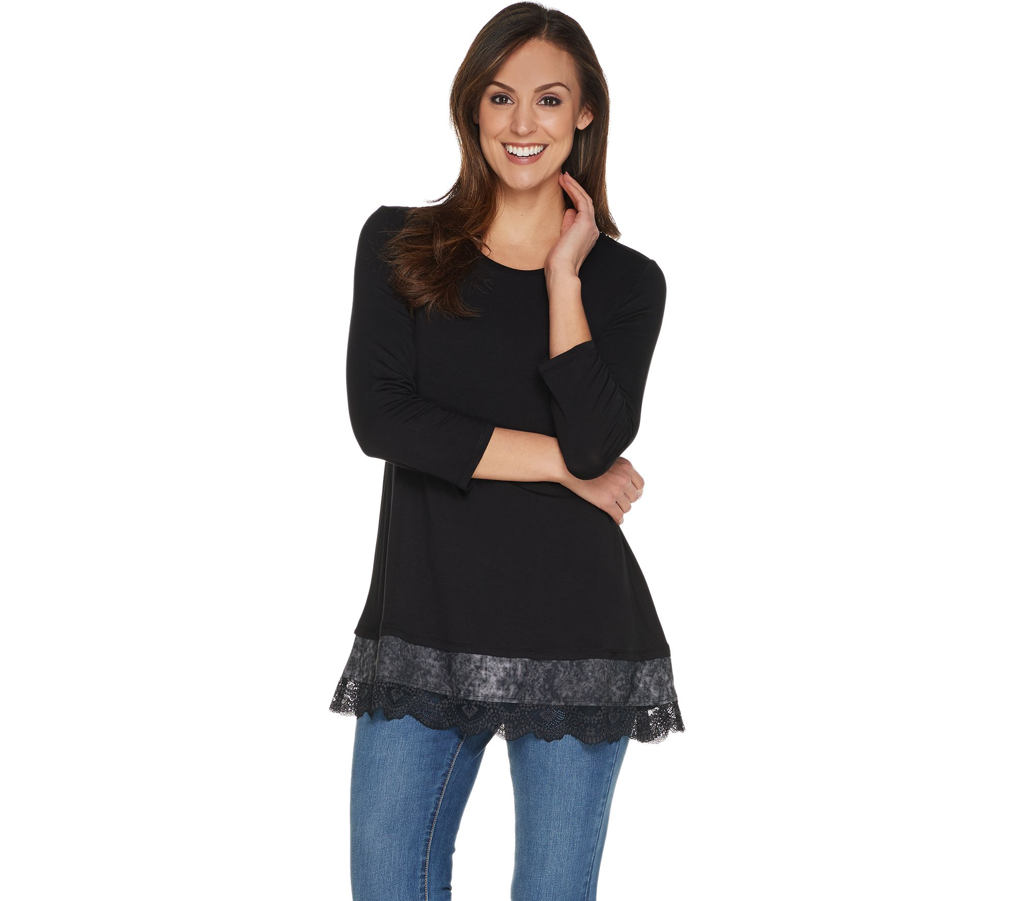 03ec055ff03 LOGO by Lori Goldstein 3 4 Sleeve Knit Top w  Woven and Lace Trim - Page 1  — QVC.com
