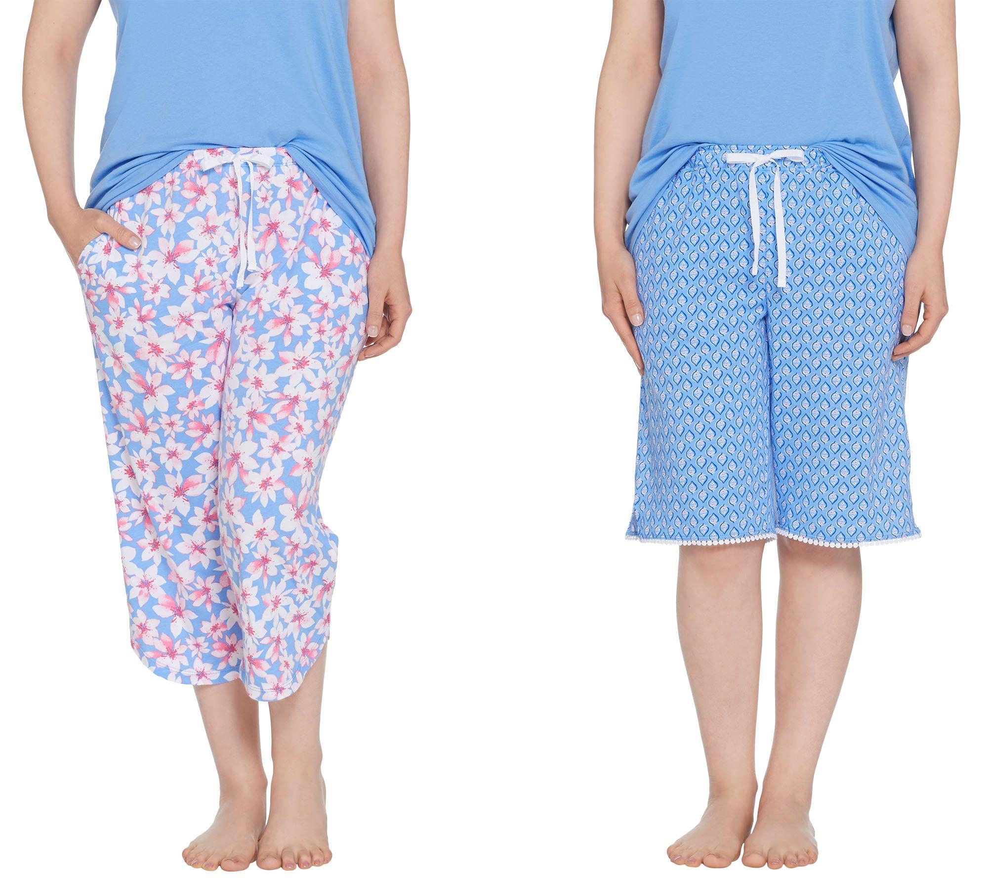 Carole Hochman Floral Cotton Jersey 3pc Pajama Set Navy PM NEW A302161