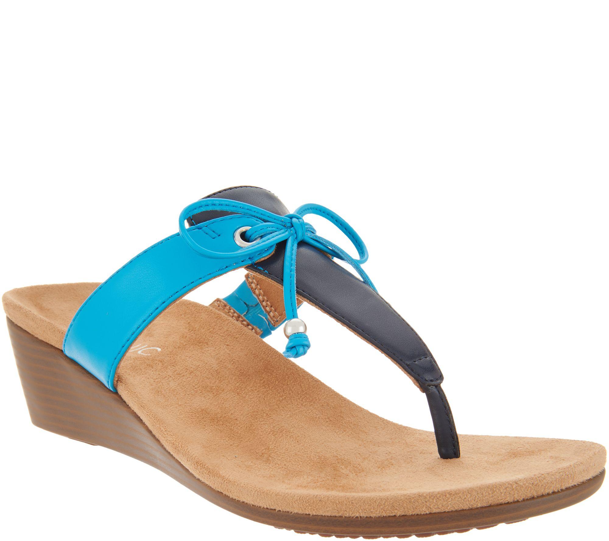 ab772db9fe15 Vionic Bow T-Strap Wedge Sandals - Della - Page 1 — QVC.com