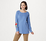 Quacker Factory Floral Embroidered Raglan Sleeve Knit Top - A341761