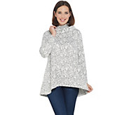 Dennis Basso Jacquard Sweater Cowl-Neck Top w/ Hi-Low Hem - A344761