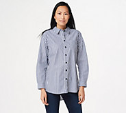 Joan Rivers Button Front Shirt with Tulip Back Detail - A347361