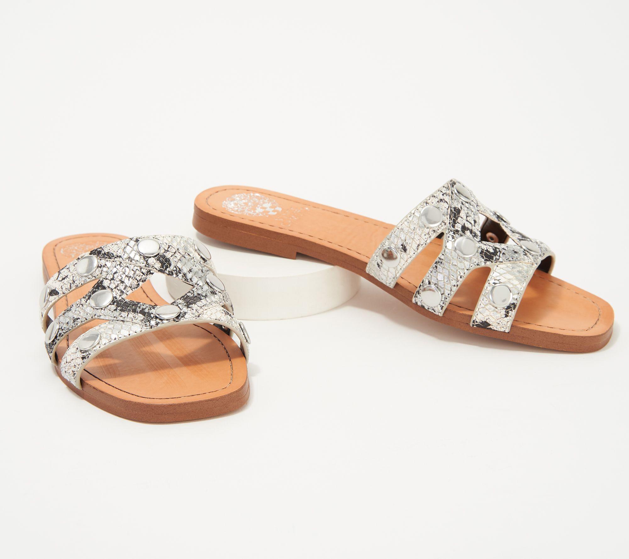 5966a9ab53df Vince Camuto Studded Slide Sandals Vazista — QVC.com