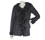 Dennis Basso Faux Suede Ruffle Front Jacket with Faux Fur Lining - A216162